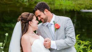 Winterport, Maine bride and groom pose at their 2016 wedding